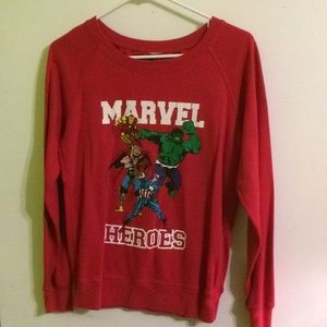 Red Marvel Heroes two-sided graphic sweatshirt